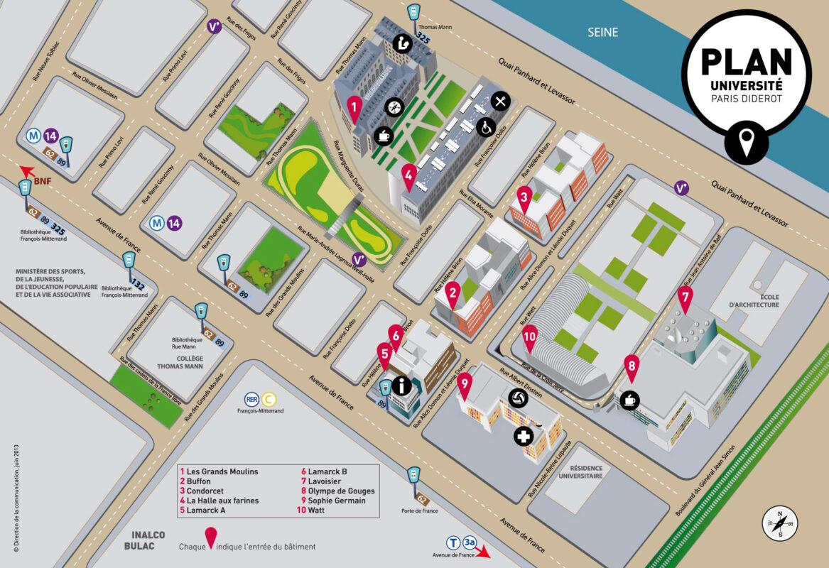 Plan du campus Paris Rive gauche